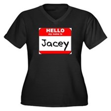 Hello my name is Jacey Women's Plus Size V-Neck Da