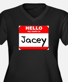 Hello my name is Jacey Women's Plus Size V-Neck Da