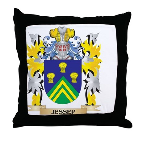 Jessep Coat of Arms - Family Crest Throw Pillow