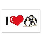 I Love Penguins Rectangle Sticker 10 pk)