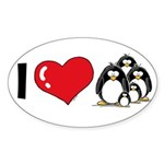 I Love Penguins Oval Sticker (50 pk)