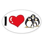 I Love Penguins Oval Sticker (10 pk)
