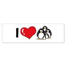 I Love Penguins Bumper Bumper Sticker