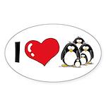 I Love Penguins Oval Sticker