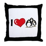 I Love Penguins Throw Pillow