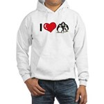 I Love Penguins Hooded Sweatshirt