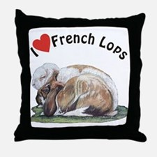 Love French Lop Rabbits Throw Pillow