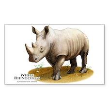 White Rhinoceros Rectangle Decal
