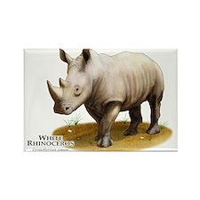 White Rhinoceros Rectangle Magnet