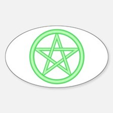 Green Pentagram Oval Decal