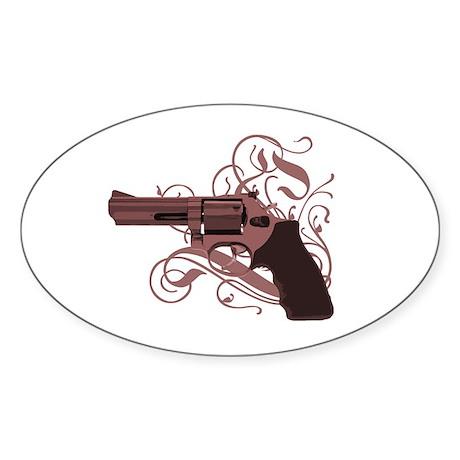 Vicious Pink Gun Oval Sticker