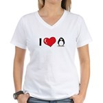 I Love Penguins Women's V-Neck T-Shirt