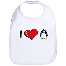 I Love Penguins Bib