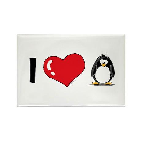 I Love Penguins Rectangle Magnet (10 pack)