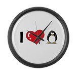 I Love Penguins Large Wall Clock