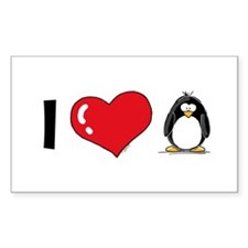 I Love Penguins Rectangle Decal