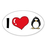 I Love Penguins Oval Sticker (10 pk)