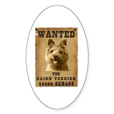 """Wanted"" Cairn Terrier Oval Decal"