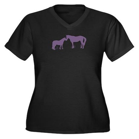 Horse Kisses Silhouette Women's Plus Size V-Neck D