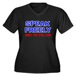 SPEAK FREELY Women's Plus Size V-Neck Dark T-Shirt