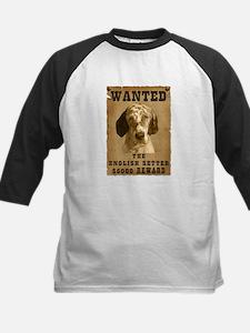 """""""Wanted"""" English Setter Kids Baseball Jersey"""
