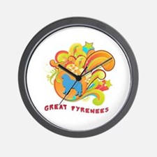 Groovy Great Pyrenees Wall Clock