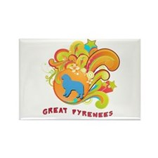 Groovy Great Pyrenees Rectangle Magnet
