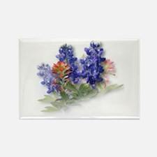 Bluebonnets with Indian Paint Rectangle Magnet