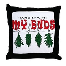 Weed Buds Hanging Throw Pillow