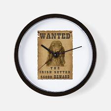 """Wanted"" Irish Setter Wall Clock"