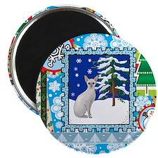 Scrapbook Sphynx Christmas Magnet