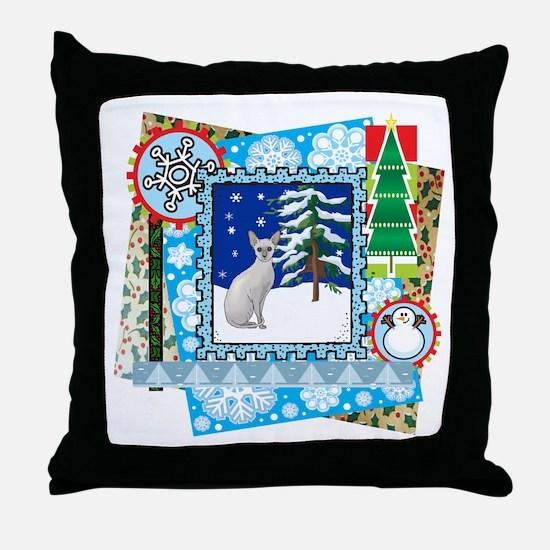 Scrapbook Sphynx Christmas Throw Pillow