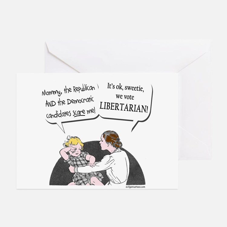 Big two scary, vote libertarian Greeting Cards (Pk