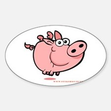 Flying Piggy Oval Decal