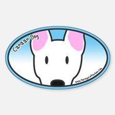 Anime White Canaan Dog Oval Decal