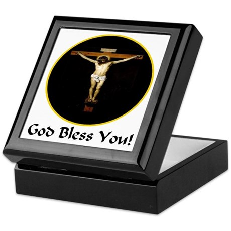 God Bless You Crucifixion Keepsake Box