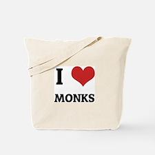 I Love Monks Tote Bag