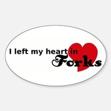 I Left My Heart in Forks Oval Decal