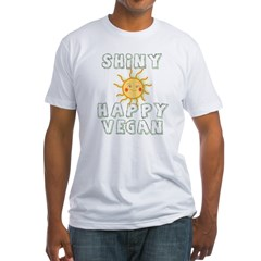 Shiny Happy Vegan Fitted T-Shirt