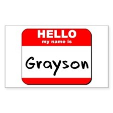 Hello my name is Grayson Rectangle Decal