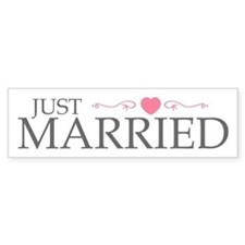 Just Married (Heart Scroll Pink) Bumper Bumper Sticker