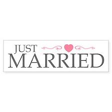 Just Married (Heart Scroll Pink) Bumper Car Sticker