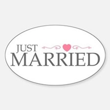 Just Married (Heart Scroll Pink) Oval Decal