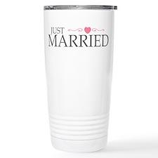 Just Married (Heart Scroll Pink) Travel Mug