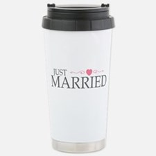 Just Married (Heart Scroll Pink) Travel Mug