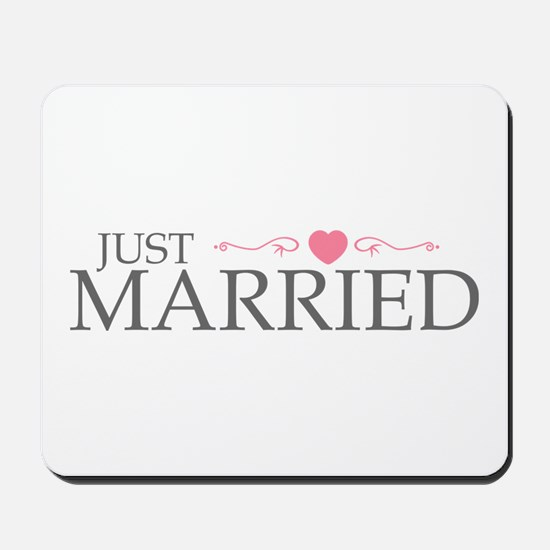 Just Married (Heart Scroll Pink) Mousepad