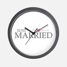 Just Married (Heart Scroll Pink) Wall Clock