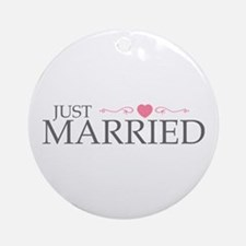 Just Married (Heart Scroll Pink) Ornament (Round)