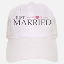 Just Married (Heart Scroll Pink) Baseball Baseball Cap