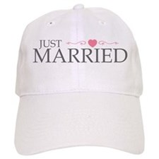 Just Married (Heart Scroll Pink) Baseball Cap